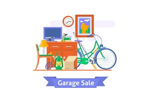 Garage sale, household used goods.Flat style vector illustration.