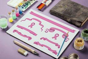 Set of pink beautiful ribbon banners