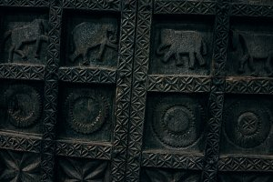 Carved Wooden Elephant Door