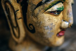Painted Wooden Buddha