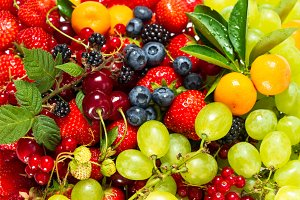Fresh fruits and berries. Raw food