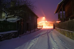 Snowy night in Brashlian village