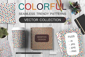Bundle of colorful memphis patterns