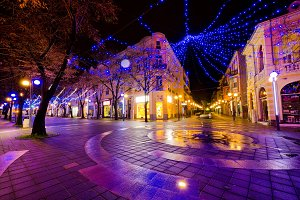 City with Christmas Decoration