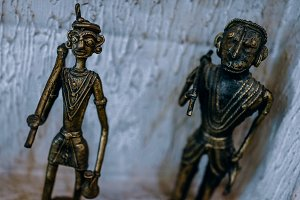 Two Metal Tribal Statues
