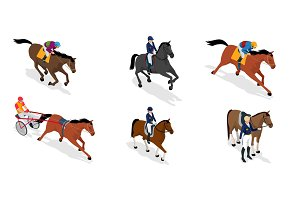 Isometric set Jockey on horse