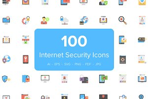 100 Flat Internet Security Icons