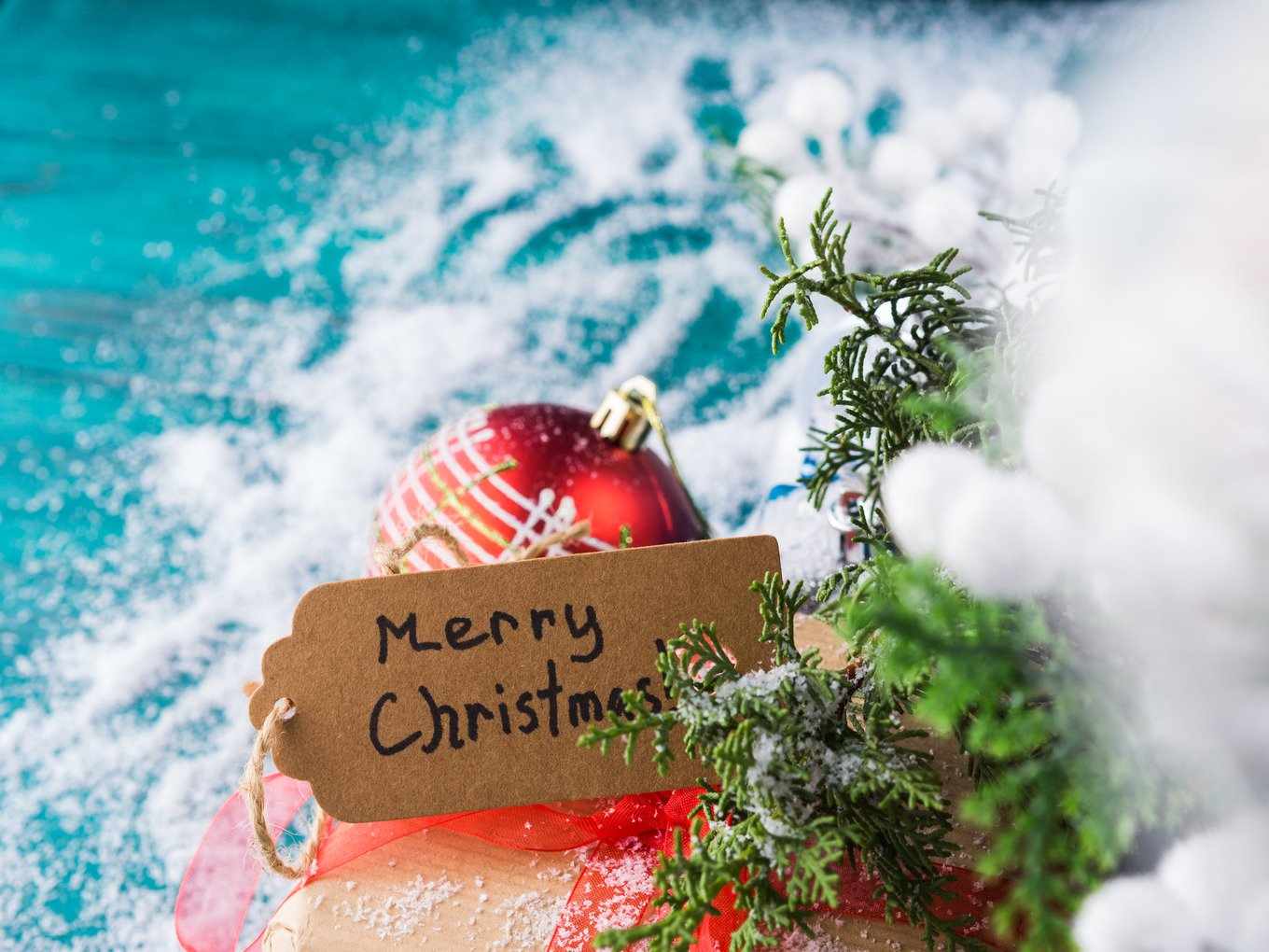 Merry christmas greeting card with gift holiday photos creative merry christmas greeting card kristyandbryce Image collections