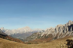 Wide Angle of Dolomites Pass Giau