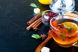 Hot tea with mint, lemon, mint and r