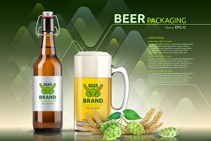 Vector realistic beer bottle mockup