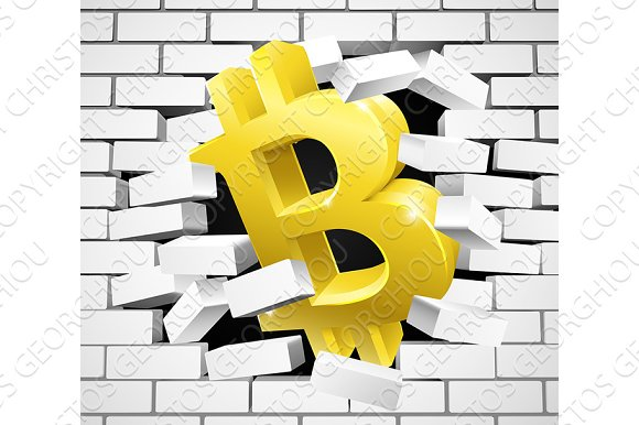Bitcoin Sign Icon Breaking White Brick Wall