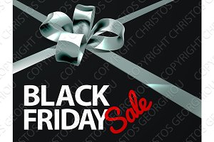 Black Friday Sale Silver Ribbon Gift Bow Design