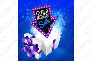 Cyber Monday Sale Gift Exploding Sign