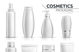 Vector realistic cosmetic bottle set