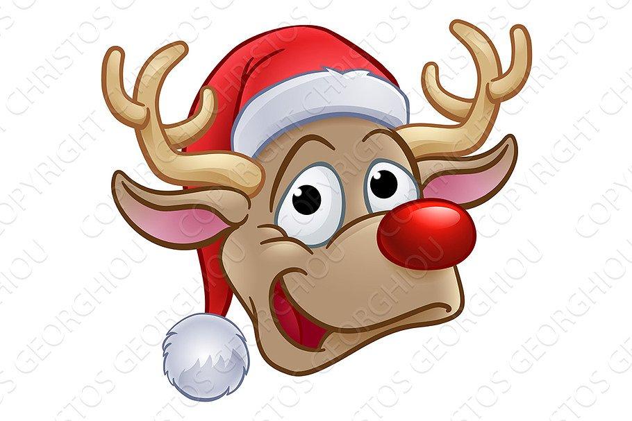 Christmas Reindeer.Christmas Reindeer In Santa Hat