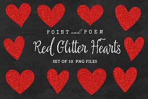 Hand Drawn Red Glitter Hearts