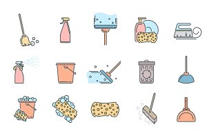 Set of cleaning service icons and symbols on white background.
