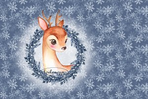 Christmas fawn and snow pattern