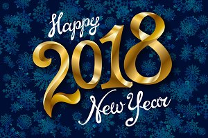 Happy New Year 2018 gold lettering