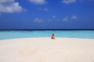 Romantic girl on the beach, Maldives