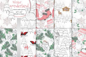 Winter wonderland seamless patterns