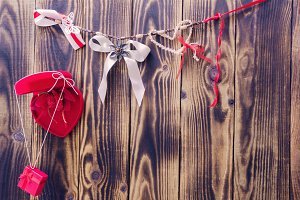 red heart and ribbons