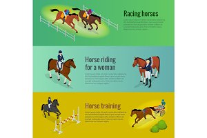 Isometric web equestrian horizontal banners with horserace awards equipment and repetition before competition vector illustration. Jockey on horse.