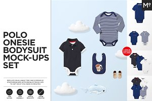 Polo Onesie Bodysuit Mock-ups Set