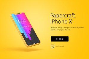 Paper model iPhoneX mockup