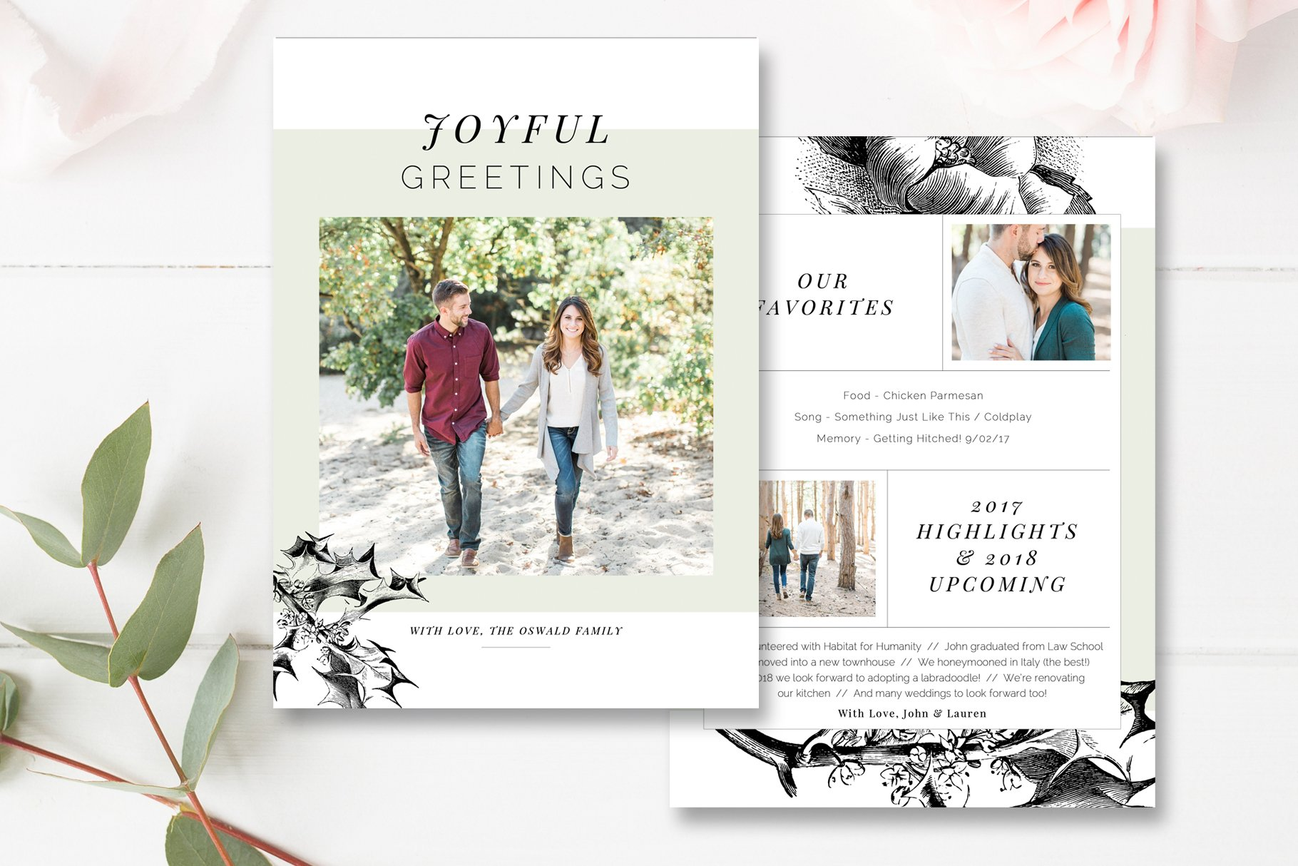 year in review card template card templates creative market - Year In Review Christmas Card