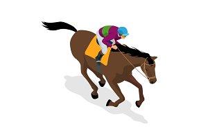 Isometric Jockey on horse, champion, horse riding. Equestrian sport. Jockey riding jumping horse. Poster. Sport background. Vector Illustration.