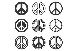 Hippie Peace Signs Set