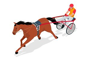 Isometric Jockey and horse. Racing horse competing. Race in harness with a sulky or racing bike. Vector illustration.