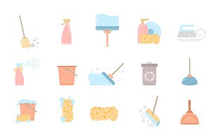 Set of cleaning service flat icons and symbols
