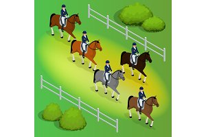 Issometric racehorses and lady jockey in uniform. Equestrian Jumping Athletes Sportswoman Games. Champion. Racing. Harness racing at the Hippodrome. Vector illustration.