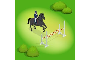 Isometric young rider girl performing jump at horse show jumping competition. Equestrian sport background. Vector illustration. Racehorses and lady jockey in uniform.