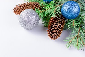 Christmas branches, balls, beads, co