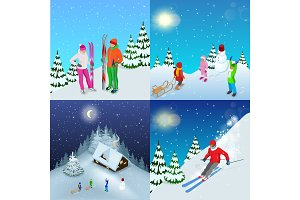 Winter active holidays concept. Family healthy lifestyle Mountain skiers and playing children. Isolated elements. Winter sports illustration for your design.
