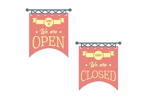 Vintage open and closed business signs. Red banners