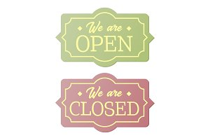 Vintage open and closed business signs.