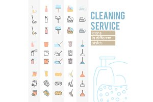 Set of cleaning service icons and symbols
