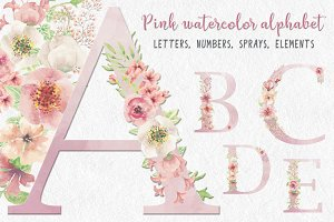 Watercolor letters, numbers & sprays