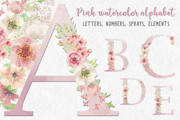 Watercolor letters, numbers & spray…