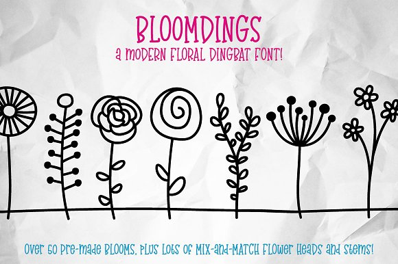 Bloomdings Abstract Floral Dingbats