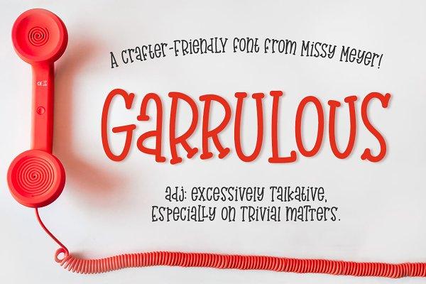 Slab Serif Fonts: Missy Meyer - Garrulous: a fun tall serif font!