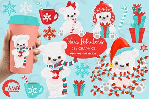 Polar Bear clipart, graphic AMB-2274