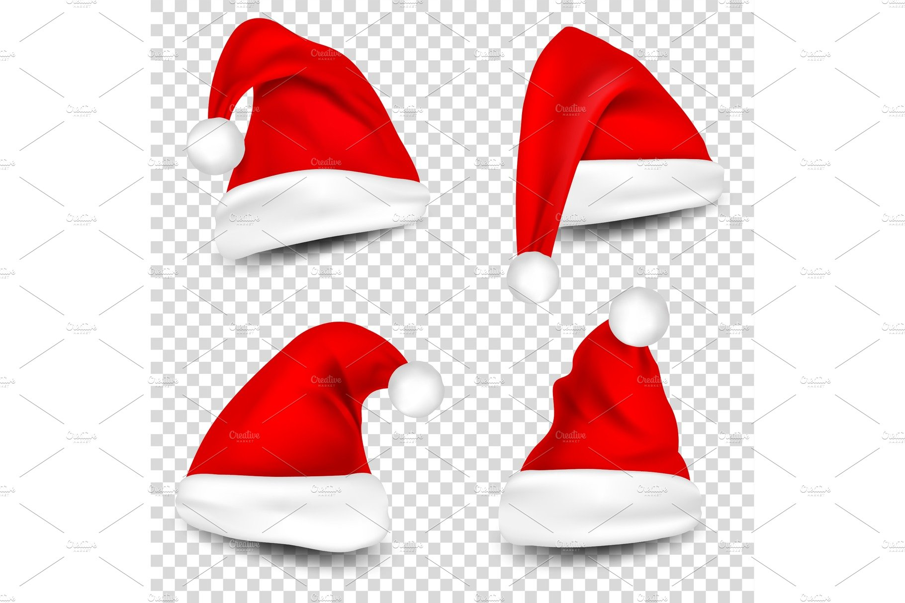 christmas santa claus hats with shadow set new year red hat isolated on transparent background