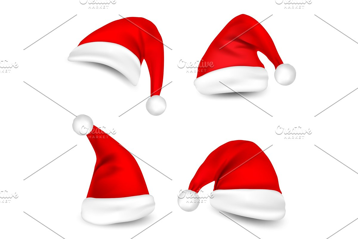 Christmas Santa Claus Hats With Shadow Set. New Year Red Hat ... 0c1a05815e3a