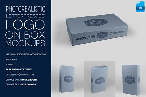 Letterpress Logo on Box - 8 Mockups